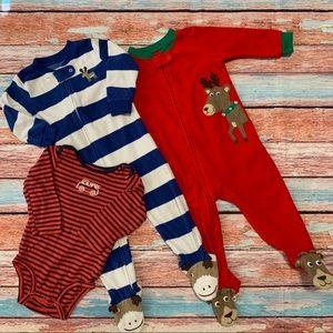 Carter's Reindeer Pajamas & Firetruck Onesie
